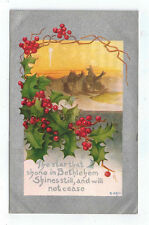 """Vintage Postcard Christmas """"The star that shone in Bethlehem"""" Holly Silver 1909"""