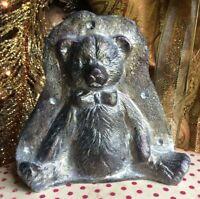 Primitive Antique Tin Style Teddy Bear Silver Resin Chocolate Mold Rustic Decor