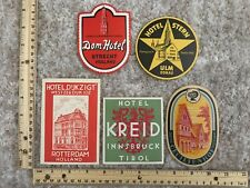 Five Hotel-Motel Luggage Labels Dom-Hotel, Hotel Stern, Hotel Kreid~116800