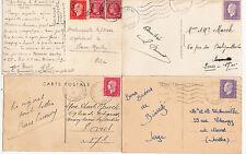Lot 4 cartes postales timbrées timbres libération 1944 croix de lorraine 6
