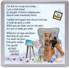 """Airedale Terrier Dog Coaster """"HOME SWEET HOME Poem .."""" Novelty Gift by Starprint"""
