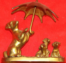 Solid Cast Brass Figures A Dog Holding Umbrella Parasol Over 3 Brass Puppies