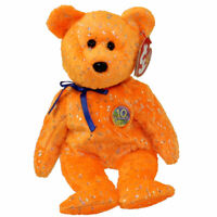 TY Beanie Baby - DECADE the Bear (Orange Version) (8.5 inch) - MWMTs Stuffed Toy
