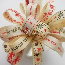 Christmas Ribbon Bundle Natural Charms 8 x 1Mtr - 15mm Crafts, Gift Wrapping