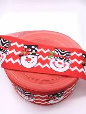 "Christmas Snowman Chevron Grosgrain Ribbon 3"" 75mm Width Buy 4 get 5th Free"