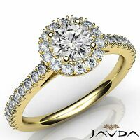 Round Diamond Engagement French Cut Pre-Set Ring GIA F SI1 18k Yellow Gold 1.5Ct