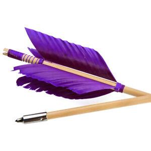 "6X 32"" Archery Flu-Flu Arrows 8.5mm Wooden 4 Feathers Traditional Longbow Target"