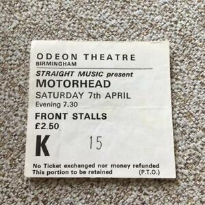 Motorhead ticket Birmingham Odeon 07/04/79 #K15