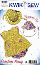 KWIK SEW SEWING PATTERN 3907 BABY SZ S-XXL DRESS, NAPPY COVER & REVERSIBLE HAT