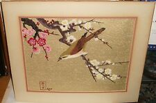 Ann Japanese Silk Bird On Blossom Tree Embroidery Tapestry Painting