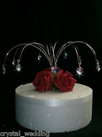 Crystal heart rose wedding cake topper