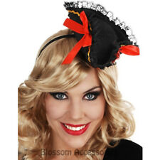 A823 Mini Black Pirate Costume Ribbon Hat on Headband Caribbean Wench Buccaneer
