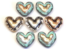 7 - 2 HOLE SLIDER BEADS HAMMERED LOOK RUSTIC BRASS SILVER & COPPER PATINA HEARTS