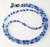 Handmade Beaded Eyeglass Chain Holder Leash~Sapphire, Indigo, Sky Blue & Silver