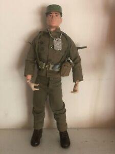 """1964 GI Joe Action Soldier Brown Painted Head Vintage Hasbro 12"""" Painted Rivets"""