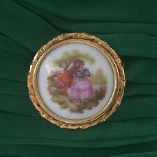 Vintage Limoges Porcelain Fragonard Scene Couple Lovers Gold Tone Frame Brooch