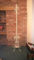 Antique White Metal Shabby Chic Coat Stand & With Umbrella Walking Cane Rest