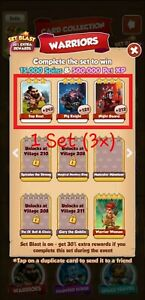 Coin Master Cards Warriors Set 3x (Fast Delivery) Pig Knight, Night Guard, Top K