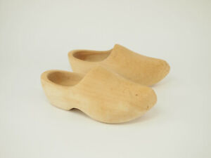 Nice! vintage Dutch natural wooden Fishing clogs 10