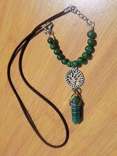 TreeSister Plant Trees Tree Charm with (Lab) Malachite Point and Jasper Beads