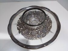 Georges Briard Relish Serving Chip & Dip Snack Glass Silvered Flower Tray