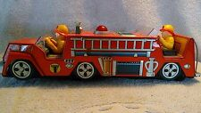 Vintage Battery Operated Tarheel No.1 Fire Department Tin truck Working Japan