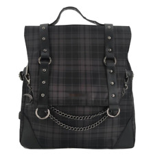 Black Plaid Nylon Backpack Chain Buckle Moon Rucksack Square Travel School Bag