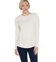Isaac Mizrahi Live! SOHO Long Sleeve Crew-Neck Knit Top Color Cream Size Large