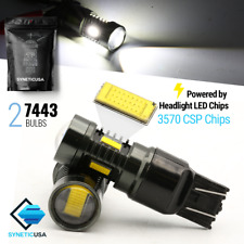 Syneticusa 7440 7443 LED CSP Reverse Backup Light Projector Bulbs 6000K White