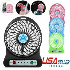 Portable Rechargeable LED Fan air Cooler Mini Operated Desk USB & Battery