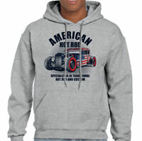 American Hot Rod Mens Hoodie Classic USA Gas Custom Car Enthusiast