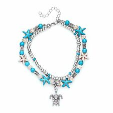 Women Sea Turtles Rope Anklet Turquoise Summer Boho Beach Charms Set Vintage Hot