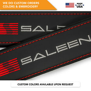 Seat Belt Covers Shoulder Strap Leather Pads Custom Made Fits Saleen Gray 2PCS