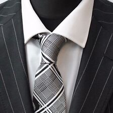 Tie Cravatta Con Fazzoletto Blu Rosso Nero & Bianco Check & Floreale