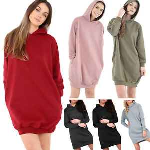 Ladies Womens Hoodie Sweatshirt Long Sleeve Hooded Pullover Jumper Fleece Hoody