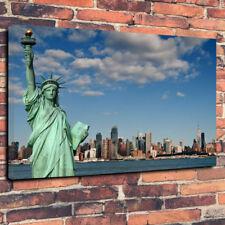 """Statua della Libertà, New York Skyline, stampa foto su tela A1.30""""x20"""" 30mm Deep"""