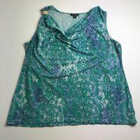 George Women's Sleeveless Blouse Top XL Cowlneck Green Blue Geometric Stretch