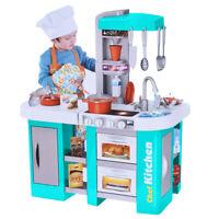 Kitchen Toy Kids Cooking Pretend Play Set Toddler Wooden Playset Tableware