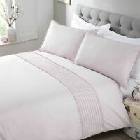 POM PLEATS BLUSH PINK COTTON BLEND KING SIZE DUVET COVER