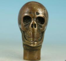 Chinese Old Bronze Hand Carved Skull sculpture Cane Walking Stick Head