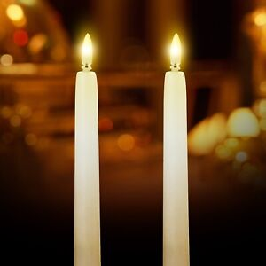 27cm Flickabright Dinner Candles - taper, real wax, amber, LED, flicker, flame,