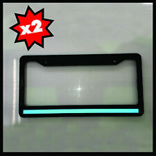 2 Blue Line License Plate thin Frame REFLECTIVE police tag holder safety