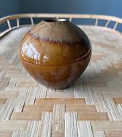 Studio Art Pottery  Bud/Weed Vase Brown Iridescent Drip Glaze MCMBoho Decor