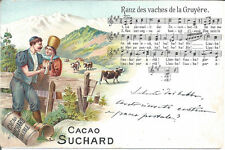 Vtg Switzerland pc advertising Suchard song card #6 Ranz des Vaches... pu 1906