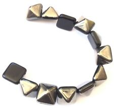 12PCS Czech Glass Square Pyramid Beads 2 Hole-12mm Jet Chrome Studs Beads