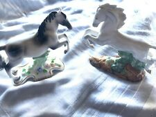 Lot: 2 Franklin Mint Porcelain Stallion Horse Sculptures