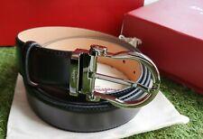 Salvatore Ferragamo classic belt with graphite tone buckle