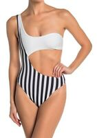 KENDALL AND KYLIE Asymmetrical Stripe One-Piece Swimsuit Size M - $120