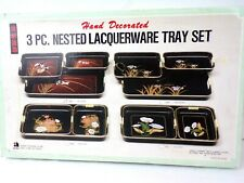 NEW Hand Decorated 3 pc. Nested Lacquerware Tray Set / Asahi Trading Co