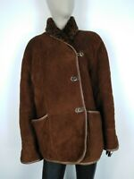 MONTONE SHEARLING MADE IN ITALY 100% PELLE Cappotto Giubbotto Giacca Tg 48 Donna